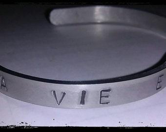 La vie est belle - hand stamped cuff bracelet