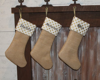 Burlap Gold Sparkling Christmas Stocking with Polka Dots, Personalized Stockings