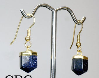 Petite Gold Plated Polished BLUE GOLDSTONE Earrings EAR202