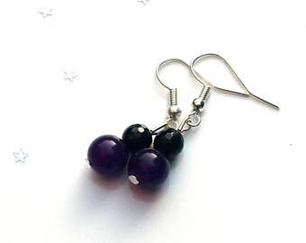 Amethyst and black onyx earrings - gemstone earrings - sterling silver earrings - gift for her