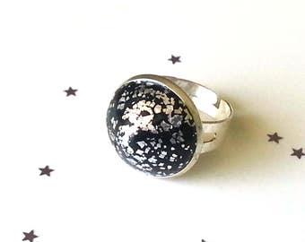 Black and silver leaf adjustable ring - polymer clay ring - black ring - adjustable ring - gift for her