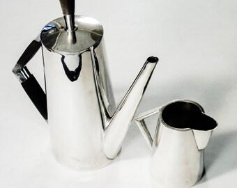 RARE Alpaca Codan Mexico Silverplate MidCentury Coffee Pot & Creamer