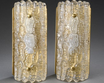 Pair of Textured Glass and Brass Sconces by Orrefors