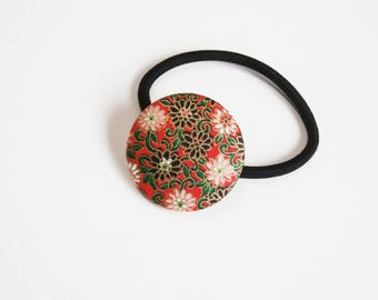 Chiyogami Covered Button Hair Tie, Button Pony Tail Holder, Large Button Hair Tie, Mums on Red