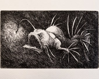 Deep Sea Monster Fish - original handpulled etching - black and white - sea creature