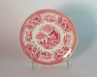Red Transferware Plate, Red Staffordshire, English Transferware, Romantic Staffordshire, English Cottage, Vintage Dining, Antique China 1850