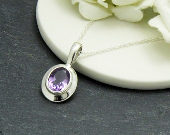 Amethyst Gemstone Necklace, Amethyst Birthstone Necklace, Amethyst Pendant, Amethyst Gift for Mother, Amethyst Jewelry, February Birthstone