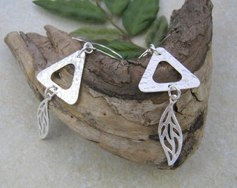 TRIANGLE EARRINGS Sterling Silver 925, geometric spoon earrings, hammered hoop earrings, upcycled from  pre-1940 vintage spoons. Leaf charm.