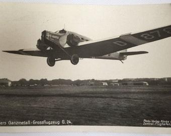 Fabulous German Junkers Ganzmetall-Grossflugzeug G24 Airplane Real Photo