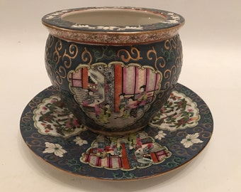 Beautiful Chinese Cloisonné Qian Long Period Bowl Jardinere And Matching Plate