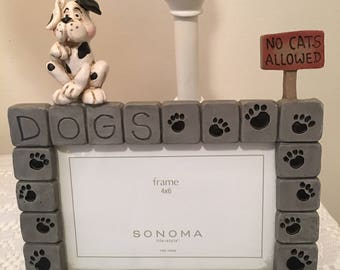 Dog Picture Frame, Dogs Rule, No Cats Allowed, Pet Portraits, Paw Prints