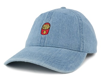 Washed Out Denim French Fries Embroidered Accent Baseball Cap (143764-FRENCH-FRIES)