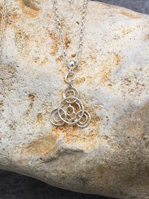 Handcrafted Sterling Silver Crop Circle Pendant Necklace.