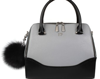 Leather Top Handle Bag, Grey Leather Handbag Top Handle, Women's Leather Bag KF-820