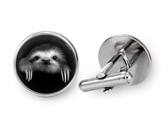 Sloth Cufflinks Groomsmen Cuff links Guys Prom Groom Wedding Gift for Man (with jewelry box)