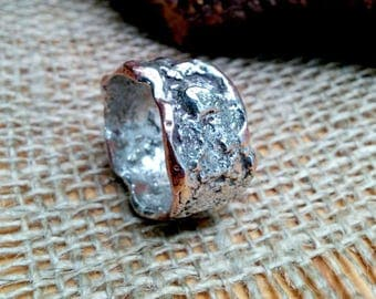 Molten Sterling Textured Copper Ring Band.  8-13mm Irregular Wide.