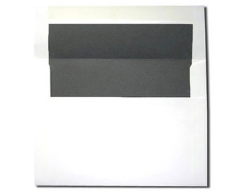 20 A7 White with Chalkboard Gray or Dark Gray Lined Envelopes
