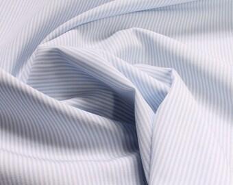 Fabric pure cotton match stripe light blue white 1,5 mm small stripe