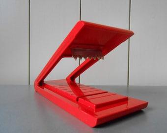 In original box! Vintage BIESSE Design Bright Red Plastic Nougat Cutter. Kitchenware Housewares Kitchen Cooking Utensil. 1980s 80s Retro