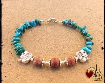 Shaman Wisdom Bracelet - Turquoise, Leopardskin Jasper