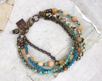 Multi stone bracelet with brass chain, Dalmatian jasper jewelry handmade, Blue stones, One of a kind jewelry for women, Blue jade and quartz