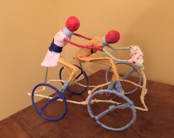 Vintage Tandum Bicycle Figure/Handmade Bicycle Figure