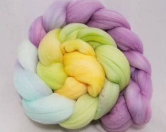 18.5 micron merino combed top for spinning or felting, hand dyed roving, superfine merino wool -- 4.2oz.
