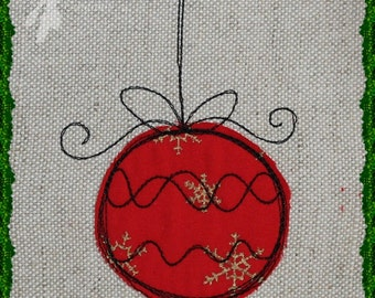 Raw Edge Applique Bauble Machine Embroidery Design Pattern for 4x4 and 5x7 hoops by Titania Creations. Instant Download