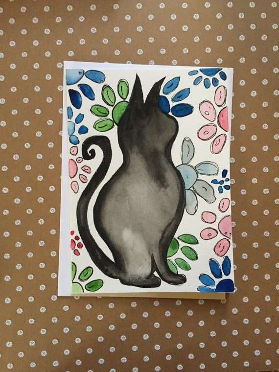 Black Cat Greeting Card, Hand Painted Cat Card, Watercolor Cat Card