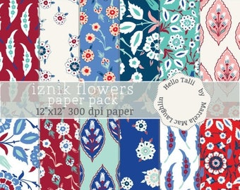 Iznik Digital Paper IZNIK TILES Turkish Tiles Iznik Flowers in Red Blue White Teal Flowers Flourishes Arabesques Wedding Party Invitations