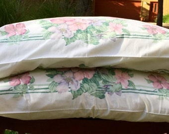 Vintage pillowcases cottage chic pillowcases shabby chic pillowcases purple pink green flowers white pillow cases bed linens