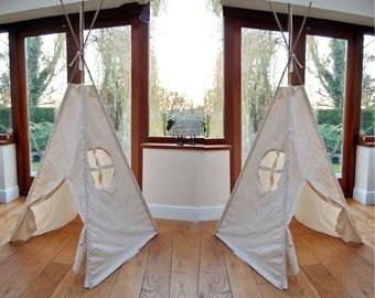 Handmade Plain Cream Calico Teepee with Porthole Window. Children's Play Tent / Teepee / Tipi / Wigwam