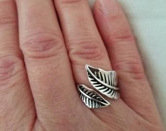 Leaf Rings, Antique Leaf Ring, Leaf Wrap Ring, Adjustable Leaf Ring