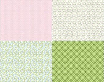 SALE!! 1 Yard Sew Cherry 2 by Lori Holt for Riley Blake Designs- 5809- Pink Fat Quarter Panel (4 Fat Quarter Prints)