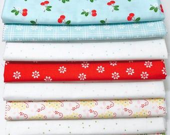 SALE!! 1 Yard Bundle Sew Cherry 2 by Lori Holt for Riley Blake Designs-8 Fabrics