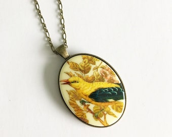 Vintage cameo necklace, bird, bronze, shabby chic