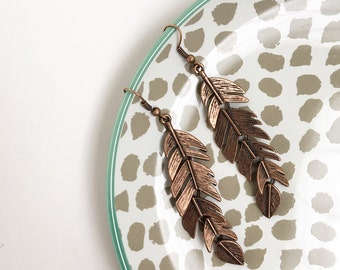 Antique copper feather earrings, dangles, boho, bohemian