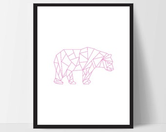 Pink Geometric Bear, Printable Wall Art, Wall Print, Boho Art, Wall Prints, Bear Prints, Printable Art, Printable, Walking Bear