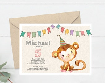Birthday Party Invitation, Party Invite Printable, Watercolor Monkey Party Invitation, Birthday Party Invite Printable (B4.Bday)