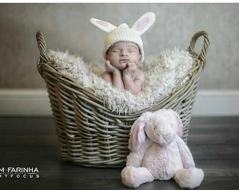 Knit Baby Hat, Bunny Beanie, Newborn Baby Hat With Bunny Ears, Rabbit Hat, Cream Beanie in Soft Ivory Cotton, Newborn Photo Prop.