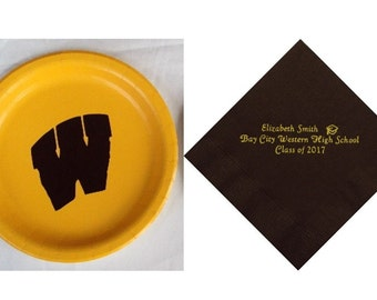 Bay City Western Logo Plates, Bay City Western Grad Napkins, Western Logo, Western High School Logo, Bay City Western High School, W logo