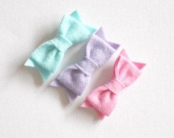 Felt Bow Hair Clips - Aqua, Purple and Blue