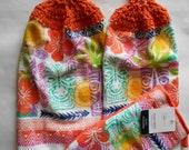 Set of 2 Brightly Colored Design Hanging Kitchen Towels with Crocheted Tops and Matching Oven Mitt