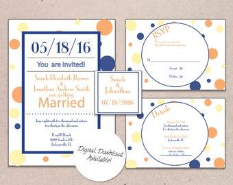 Polka Dot Wedding Invitation Suite