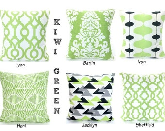 Green Pillow Covers, Cushion Covers, Decorative Throw Pillows, Kiwi Green Ivory Gray Charcoal Shabby Chic, One or More Mix & Match All Sizes
