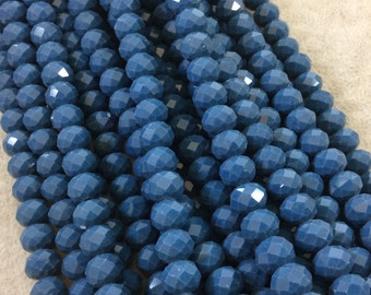 """8mm x 10mm Glossy Finish Faceted Opaque Denim Blue Chinese Crystal Rondelle Beads - Sold by 17"""" Strands (Approx. 57 Beads) - (CC810-56)"""