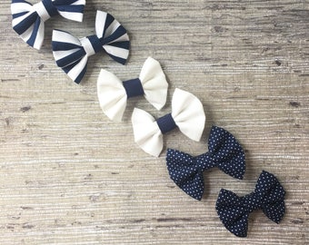navy, white, stripes, dots, mini, pigtail, bows