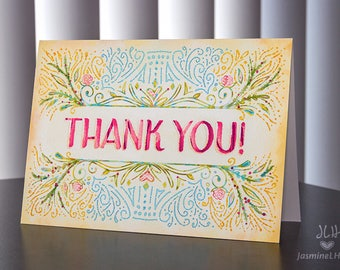 Elegant floral & watercolor Thank You Card
