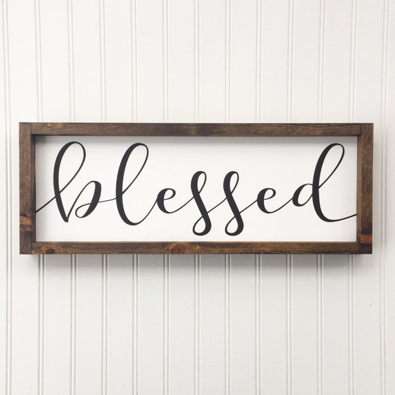 blessed framed wood sign cursive handwritten font rustic