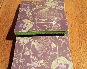 Recycled Handmade Ceramic Tile Coasters Set of Two Grey/Sage Green Botanical Floral Design